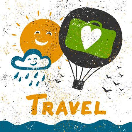 Travel grunge illustration. Vector hand drawing banner with lettering. Illustration