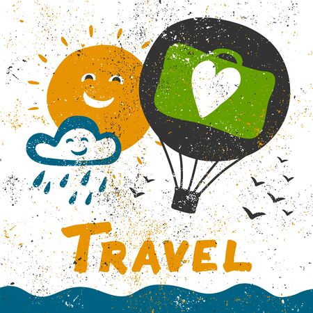 Travel grunge illustration. Vector hand drawing banner with lettering. Çizim