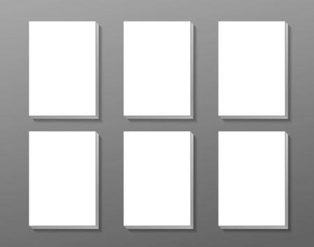 versions: White panels mock up. 6 sheets on gray background. For presentation, card, flyer, cover design versions. Vector illustration. Illustration