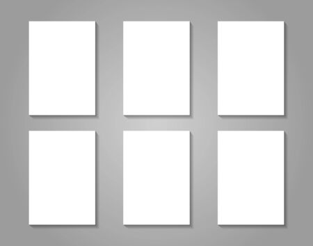 six objects: 6 white paper sheets on gray background. Vector mock up for presentation, card, flyer, cover design versions. Illustration