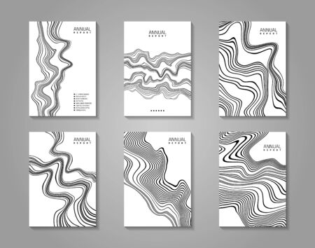 Flyer set with abstract waves design. 6 paper sheets on gray background. Vector template.