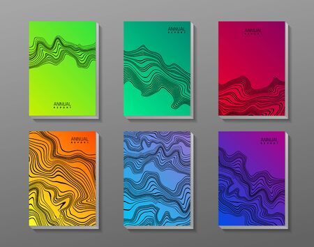 Flyer set with abstract waves. Vector template.