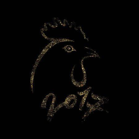검은 배경에 황금 닭. 번호 2017 블랙과 골드 벡터 일러스트 레이 션 수탉 실루엣입니다. 일러스트