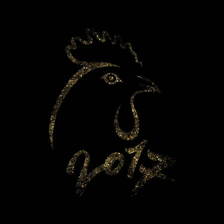 Golden rooster on black backdrop. Cock silhouette with numbers 2017. Black and gold vector illustration. Çizim