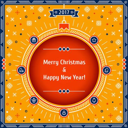 공, 눈송이, 선물, 스타, 벨, 눈사람, 벙어리 장갑, 스케이트, 크리스마스 트리 : 크리스마스 기호 카드입니다. 얇은 라인 벡터 일러스트 레이 션. 메리