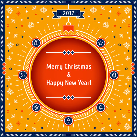 Card with Christmas symbols: ball, snowflakes, gift, star, bell, snowman, mitten, skates, Christmas tree. Thin line vector illustration. Merry Christmas & Happy New Year! Çizim