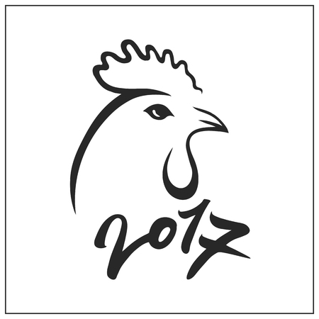 Rooster on white background. Cock silhouette with numbers 2017. Vector illustration.