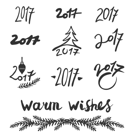 Handwritten 2017 numbers set on white background. And lettering: warm wishes. Vector illustration.