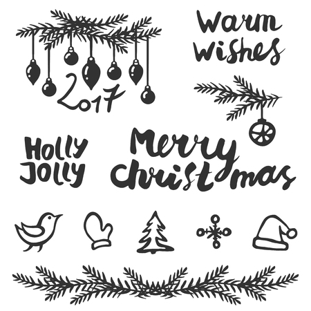 Christmas set. Handwritten lettering: Merry Christmas, warm wishes, Holly Jolly. And handdrawing decoration. Vector illustration.
