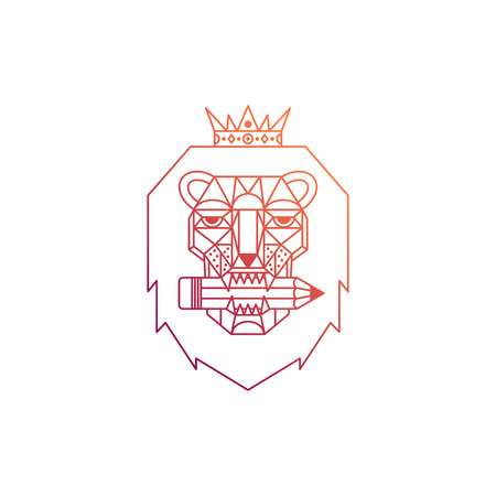 Lion head with crown and pencil. Thin line. Geometric symbol of design, drawing and creativity. Vector illustration. Çizim