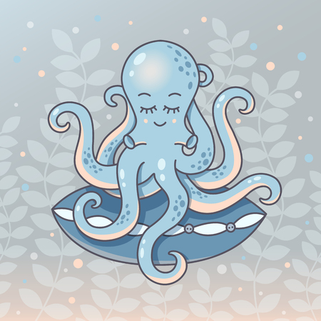 Blue octopus with the pillow. Funny character. Sleeping time vector illustration.