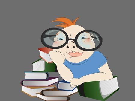 Illustratie van een jongen met boeken.