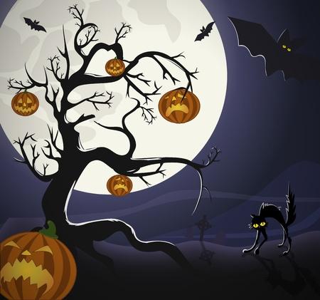 Boom met pumpkinheads en zwarte kat op het kerkhof, onder Halloweens maanlicht.