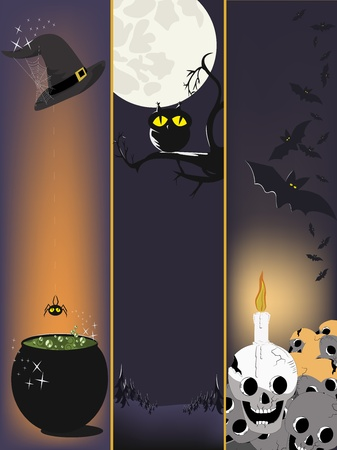 Witch hat with web and cauldron.Owl on a branch.Pile of skulls. Vector