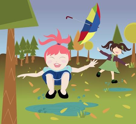 Kinderen spelen na regen in de herfstbos