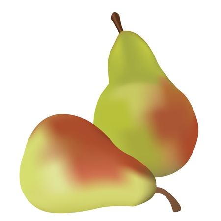 Doubble, fresh, green red pears. Stock Vector - 11125586