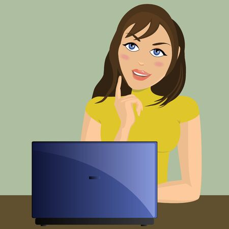 Girl working on lap top  Vector