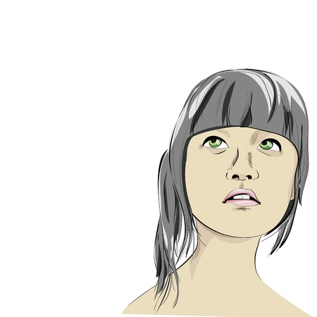 Wondering young woman Vector