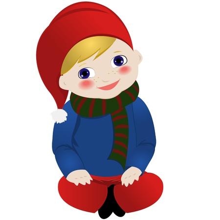 Lil gnome zitten Stock Illustratie