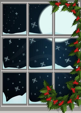 Winter Christmas decorated window Vector