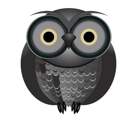 Big brown owl, isolated on white background Illustration