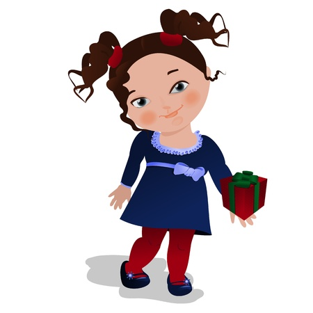 Little girl handing a gift to the viewer Stock Vector - 11384217