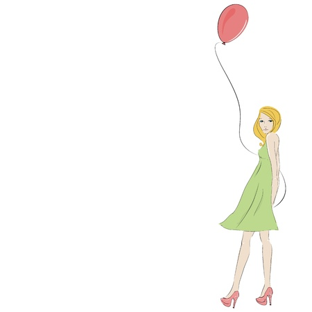 Beautiful blonde young woman with pink balloon, isolated on white and space for text   Vector
