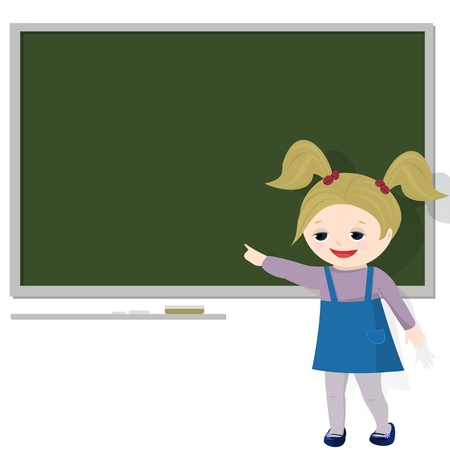 Girl in classroom, pointing at empty blackboard for text   Isolated on white background  Stock Vector - 12867956