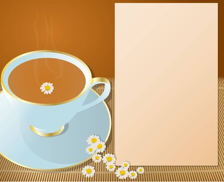 descriptions: Hot cup of chamomile, with flowers around and notepad for descriptions beside it  Cup of chamomile