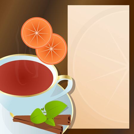 descriptions: Hot cup of tea, with cinnamon, orange,green leaves and notepad for descriptions beside it  Cup of tea with cinnamon flavor