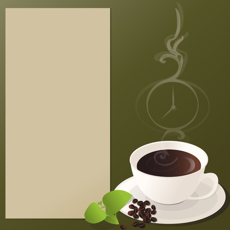 A cup of coffee, with coffee beans and green leaves on a side, smoke taking clock-like form and description notepad  Coffee time  Vector