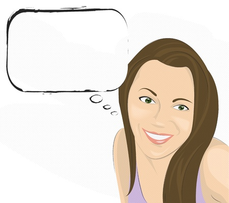 Smiling girl with text bubble,comic style,on white   Vector