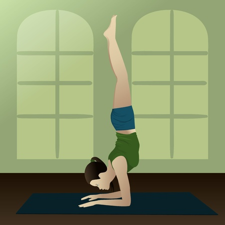 Young girl practicing yoga in room, Feathered Peacock  Pose Pincha Mayurasana    Vector