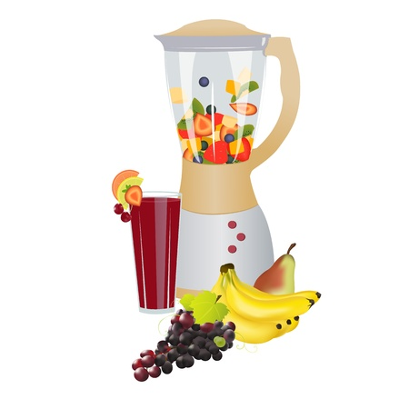Mixer with fresh slices fruits inside,colorful composition of fruits in front and fresh made juice decorated with fruits,on white background Fruit fusion