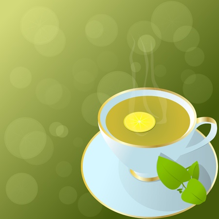 Hot cup of green tea, with lemon,green leaves and fresh background with lemon transparent slices  Cup of green tea   Vector