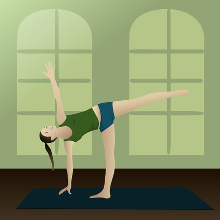 asanas: Young woman practicing yoga half moon posture in room   Illustration