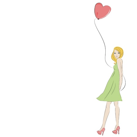 Beautiful blonde young woman with heart balloon, isolated on white and space for text Stock Vector - 12851930