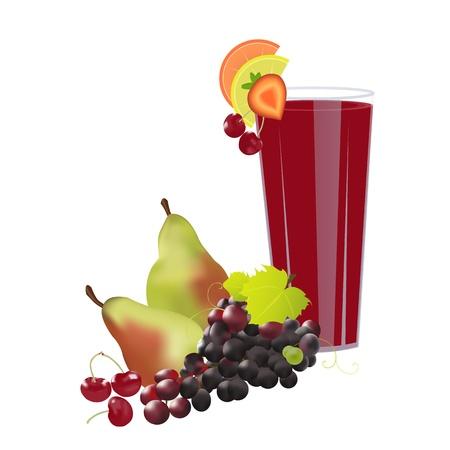 Een glas vers sap versierd met schijfjes fruit en vers fruit eromheen, op een witte achtergrond Juice Stock Illustratie