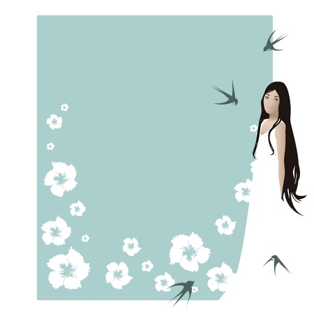 Beautiful young lady,white dress and long brown hair, standing beside card for text decorated with white flowers and birds   Vector