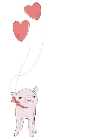 Adorable little pet piggy, with heart balloons floating above it, isolated on white