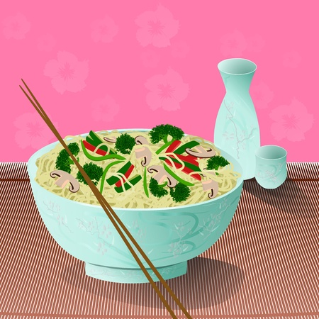 A bowl of delicious noodles with vegetables and sake beside it