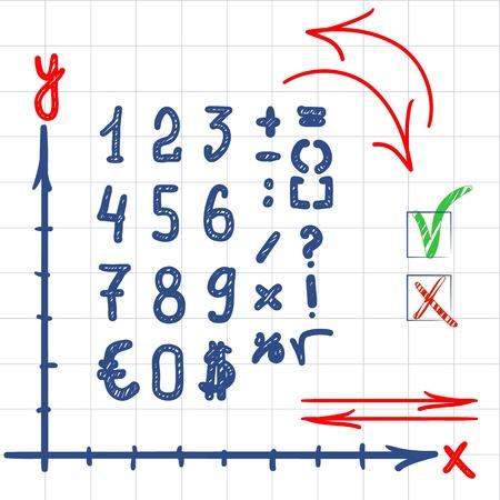 Cijfers en tekens, op wit met de hand geschreven Stock Illustratie