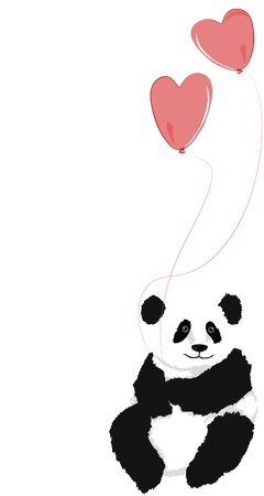 hugs: Panda sitting with 2 heart balloons, on white background