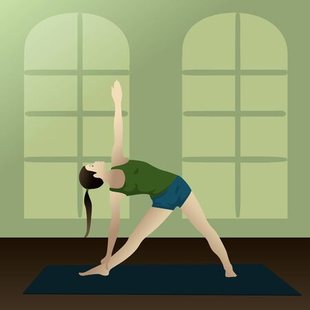 asanas: Young woman practicing yoga, triangle pose, in room   Illustration