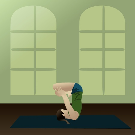 asanas: Young woman practicing yoga, Upward Lotus in room  Illustration