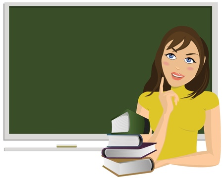 thinking student: Young woman with books and blackboard behind her
