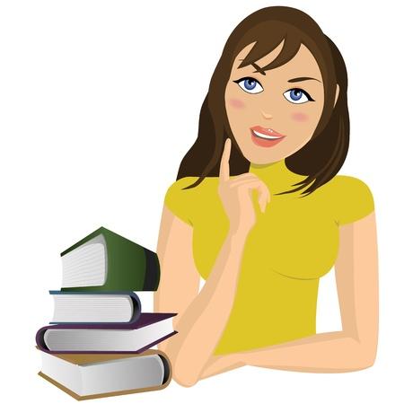 person thinking: Mujer joven con los libros, aislados en blanco Vectores