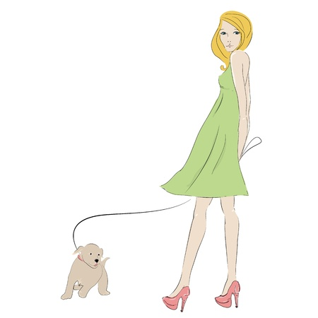 dog walking: Beautiful blonde young woman with with little puppy, isolated on white and space for text