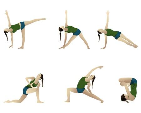 namaste: Yoga de la serie 6 posiciones en blanco