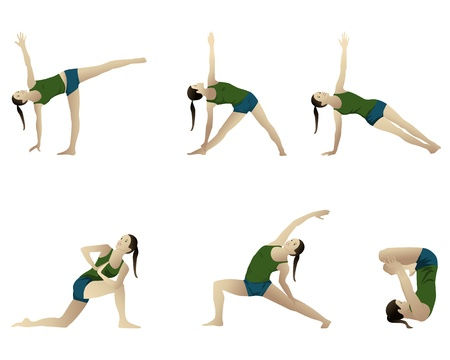 plank position: Yoga series 6 positions  on white